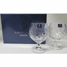 Caledonian 24% Cut Lead Crystal Cognac Brandy Glasses in Silk Presentation Box