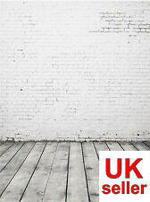 WHITE BRICK WALL BACKDROP WALLPAPER BACKGROUND VINYL PHOTO PROP 5X7FT 150x220CM