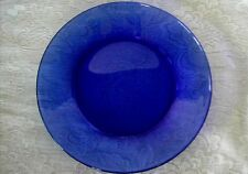 Vintage ANCHOR HOCKING Lt.Cobalt Blue Glass Plate - Made in U.S.A.