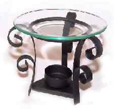 BLACK WROUGHT IRON OIL BURNER WITH ORNATE SCROLL WORK & 12cm GLASS DISH
