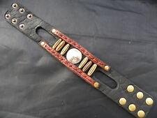 Native styl Bracelet  Buffalo Leather wristband Indian Nickel bone tied w sinew.
