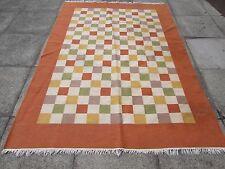 Old Hand Made Oriental Indian Dari Brown Orange Cream Wool Large Kilim 242x172cm