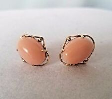 Vintage 18K Solid Yellow Gold Angel Skin Coral Pierced Earrings
