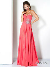 New Jovani Coral Strapless Embellished Sweetheart Prom Dress Sz 0 NWT