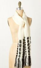 NIP Anthropologie NEWSPRINT SCARF Zene Bosnia Fringe Handmade Black Ivory Knit