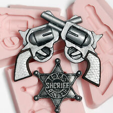 Crossed Pistol  - Sherrif Badge Silicone Mold Set  Food Safe Craft Moulds  (244)