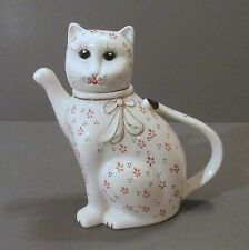 "White Cat ""Teapot"" with Red and Black Flower Pattern"