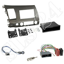 Honda Civic Hybrid (FD3) Einbaurahmen 2-DIN Blende anthrazit + ISO-Adapter Set