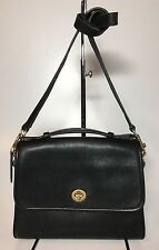 Vintage Coach Court Bag Crossbody/Messenger Black Leather #9870 Made in USA