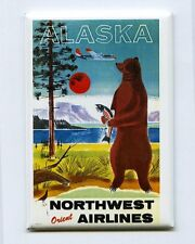 NORTHWEST ORIENT AIR / ALASKA - MINI POSTER FRIDGE MAGNET (vintage travel 1950s)