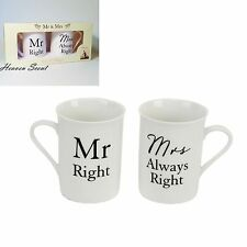 Mr Right & Mrs Allways Right Boxed Mug Set Wedding Gift Present Ideas WG524