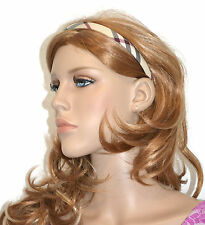 New Women's Hair Accessories Beige Plaid Checkered Cluster Headband