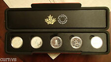 Royal Canadian Mint 5 Silver Coin Set with Red Mint Case and outer shell