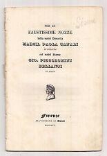 S995-PLACCHETTA PER LE NOZZE TAZZARI/PICCOLOMINI-BELLANTI