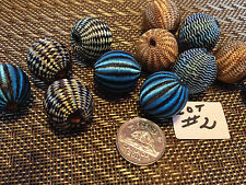 BEADS  LOOSE  WOODEN...LOT #2...COVERED WITH WOVEN FABRIC  20 MM
