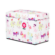 Cute Pets Toy Chest Soft Closing Padded Storage Children's Kids Girls Bedroom