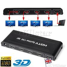 4 WAY SPLITTER HDMI 1080p SWITCHER HUB Amplificatore per HDTV SKY BOX STB ps3 XBOX