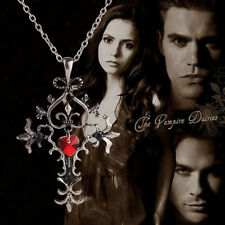 """The Vampire Diaries"" Gothic Vintage Antique Silver Cross Pendant & Necklace Set"