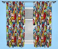 "MARVEL COMICS JUSTICE CURTAINS 66"" x 54"" INCH DROP BOYS BEDROOM KIDS IRON MAN"