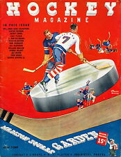 1/22/1939 NY Rangers vs Montreal Canadiens NHL Program - 8 Hall of Famers