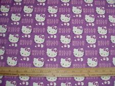 COTTON Fabric Sanrio Hello Kitty WINK on Lt Purple BTY