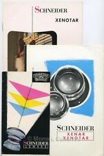 Schneider Xenar & Xenotar Camera Lens Leaflets x3. More Sales Brochures Listed
