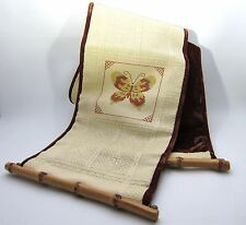 """Vintage Cross Stitch Butterfly Bell Pull Bamboo Rods 49"""""""