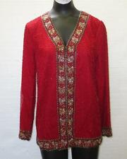 Awesome Women's LAURENCE KAZAR Red Beaded Silk Evening Party Jacket
