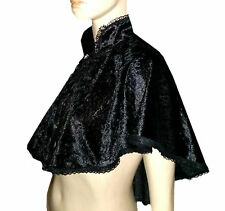 BLACK CRUSHED VELVET LACE CAPE CLOAK GOTH VICTORIAN STEAMPUNK GOTHIC BRIDE PANTO