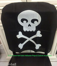 Gothic Pirate Birthday-SKULL & CROSSBONES CHAIR COVER-Haunted House Decoration