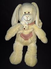 Nicotoy Cream Bunny Rabbit Mommy and baby in pink striped pocket plush toy