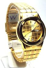 New Citizen Man  Gold-tone 08 Genuine-Crystals, Gold-dial Dress Watch