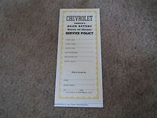 1953 1954 CHEVROLET CAR AND TRUCK (ALL MODELS) DELCO BATTERY WARRANTY BOOKLET