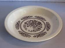 USA Vintage BROWN AND WHITE FLORAL Pie Dish (A)