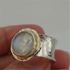 Hadar Designers Israel 9k Gold 925 Sterling Silver Moonstone Ring any sz (I r137