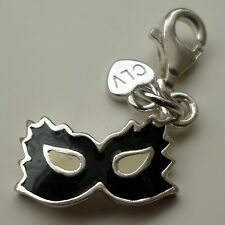 A BEAUTIFUL SOLID SILVER ENAMELLED C`EST LA VIE MASQUERADE MASK CHARM
