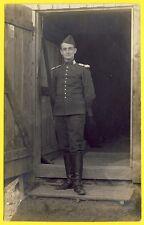 cpa CARTE PHOTO ALLEMAGNE LANDSHUT Soldat 19 sur Col Militaire Camp Prisonnier?