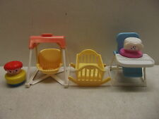 FISHER PRICE CHUNKY LITTLE PEOPLE #2364 NURSERY SET W/BABY MOM SWING CRADLE 100%