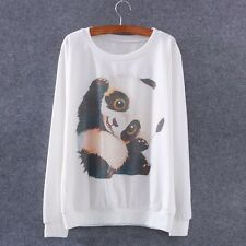 New Women Panda Print Long Sleeve Tracksuit Pullover Sweatshirt Hoodie Tops