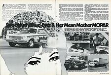 1976 Great Article & Pic Sweet Judy Lilly & Her '74 Plymouth Duster Super Stock.