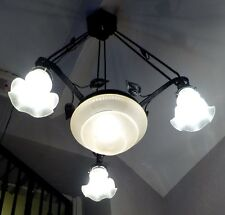 Original 1930's French Wrought Iron & Glass Art Deco Chandelier, Rewired
