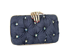 Benedetta Bruzziches Bag Carmen Denim Crystals Clutch Brand New Authentic