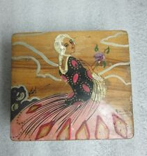 AS IS ARTIST SIGNED MADE IN FRANCE HAND PAINTED VICTORIAN LADY WOOD BOX AS FOUND