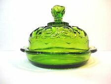 Vintage Clear Green Glass Dome Butter Cheese Dish Beautiful Design