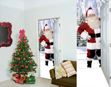 LARGE 3D SANTA  FABRIC DOOR BANNER INTERIOR POSTER XMAS DECORATION L&S PRINTS