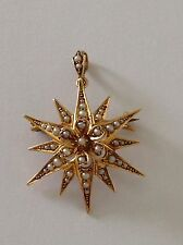 Pretty Antique Victorian 15ct Gold & Seed Pearl Set Snowflake Pendant / Brooch