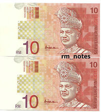"MALAYSIA  RM10 x 2pcs R/N ALI HASSAN CENTRE Sign CE_3508852 ~ 853 ""UNC"""