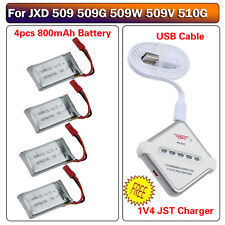 4pcs 3.7V 800mAh Battery+JST 4in1 USB Charger For JXD 509G 509W 510G RC Drone