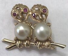 14k Solid Yellow Gold Ruby and Pearl Owl Pin/Brooch