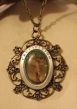 Lovely Lobed Floral Rim Crucifixion of Christ Epoxy Brasstone Pendant Necklace